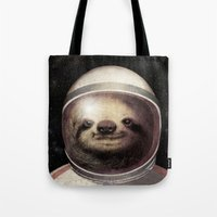 sloth Tote Bags featuring Space Sloth  by Eric Fan