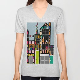 At Home In The City Unisex V-Neck