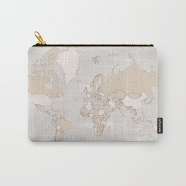 """Rustic world map in grey and brown """"Lucille"""" Carry-All Pouch"""