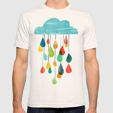 cloudy with a chance of rainbow Mens Fitted Tee Natural SMALL