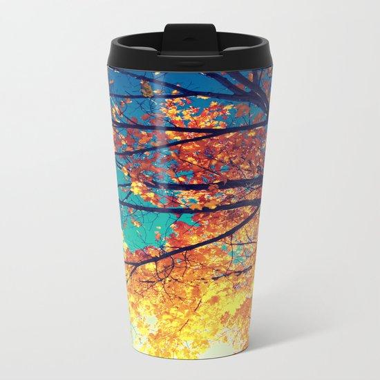 AutuMN Golden Leaves Teal Sky Metal Travel Mug