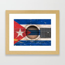 Old Vintage Acoustic Guitar with Cuban Flag Framed Art Print
