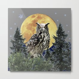 SURREAL NORTHERN OWL WITH SNOWFLAKES, FULL MOON ART Metal Print