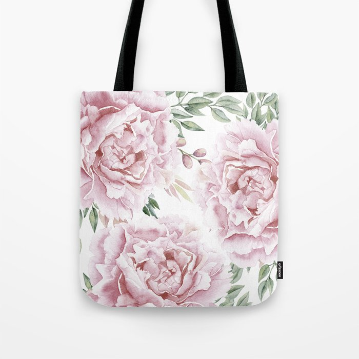 Pretty Pink Roses Floral Garden Tote Bag