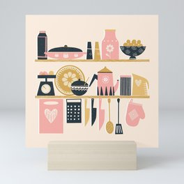 Colorful Cooking In A Mid Century Scandinavian Kitchen Mini Art Print
