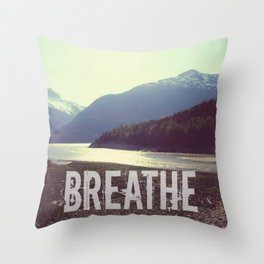 Breathe In the Mountains   Nature Photograph Throw Pillow