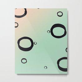 Geometric Art Print - Peach and Mint Metal Print