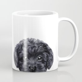 Black toy poodle Dog illustration original painting print Coffee Mug