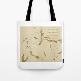"""""""Leisure"""" Drawing with poem:  """"Suitable For Framing"""" Tote Bag"""