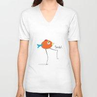 chicken V-neck T-shirts featuring Chicken by Icela perez bravo