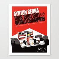 senna Canvas Prints featuring Ayrton Senna x McLaren by Sean Kane Design