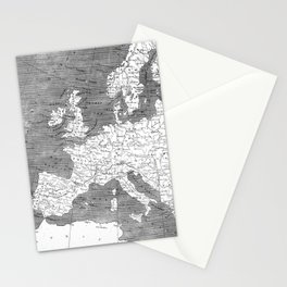 Vintage Map of Europe (1804) BW Stationery Cards