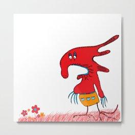 Red lovely boogy monster, red, grass, flowers Metal Print