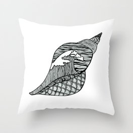 Seashell Wave Pattern Seaside Shell Hokusai Inspired Throw Pillow