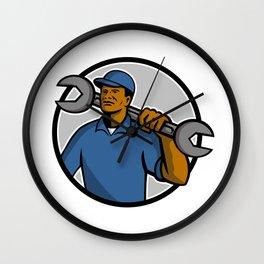 African American Mechanic Mascot Wall Clock