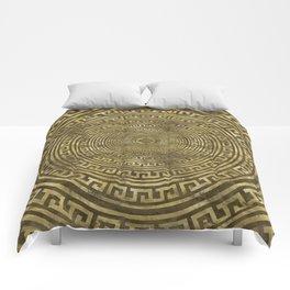Circular Greek Meander Pattern - Greek Key Ornament Comforters