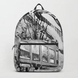 Brooklyn New York in Snow Storm Black and White Backpack