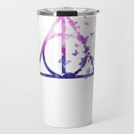 Deathly Hallows galaxy butterfly - wand, cloak, stone - Potterhead Travel Mug