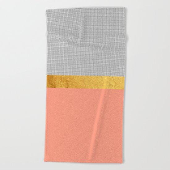 Minimalist Fashion Peach Pink + Gold + Squares Beach Towel