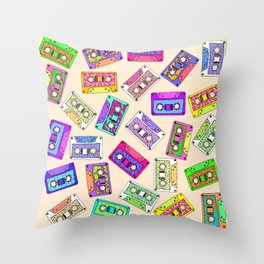 Retro 80's 90's Neon Patterned Cassette Tapes Throw Pillow