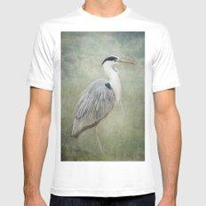 Cool Heron White Mens Fitted Tee MEDIUM