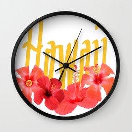 Hawaii Text With Aloha Hibiscus Garland Wall Clock
