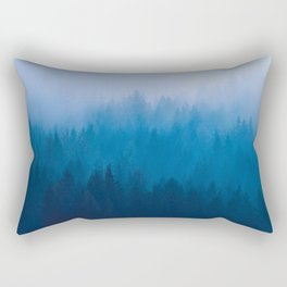 Blue Mountain Pine Trees Blue Ombre Gradient Colorful Landscape photo Rectangular Pillow