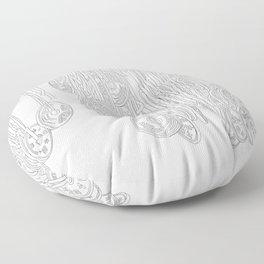 Happy Five Yen Coins - Line Art Floor Pillow