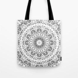 Gray White Floral Mandala Tote Bag