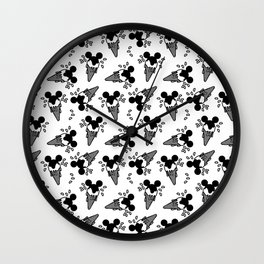 B&W Mickey Icecream Splash Pattern Wall Clock