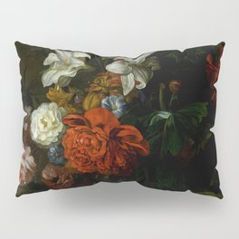 """Ernest Stuven """"Poppies, lilies, roses and other flowers in a glass vase on a draped marble ledge"""" Pillow Sham"""