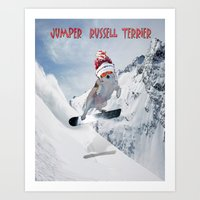 snowboarding Art Prints featuring Snowboarding by Dymond Speers