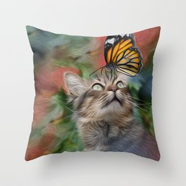Cat playing with butterfly Throw Pillow