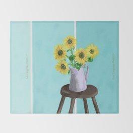 Sunflowers on Blues Throw Blanket