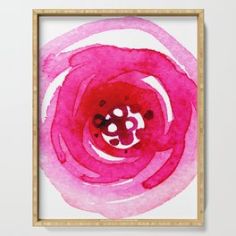 Red Rose Floral Watercolor Abstract Painting Serving Tray