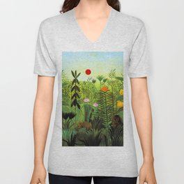 """Henri Rousseau """"Exotic Landscape with Lion and Lioness in Africa"""", 1903-1910 Unisex V-Neck"""