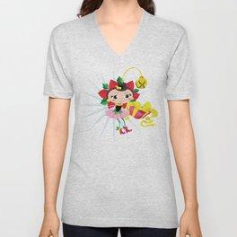 Holiday Poinsettia Fairy Unisex V-Neck