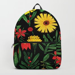 Black yellow orange green watercolor tulips daisies pattern Backpack