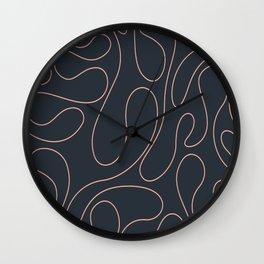 Peach Curves Blue Wall Clock