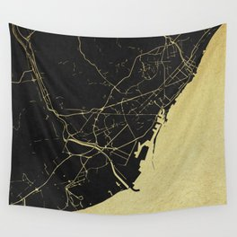 Barcelona Black and Gold Map Wall Tapestry