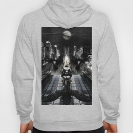 Poster with a biker on a motorcycle in the form of an angel looking into the distance of the urban v Hoody