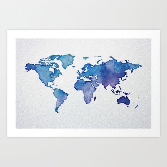 Blue World Map 02 Art Print