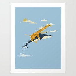 Giraffe riding shark Art Print