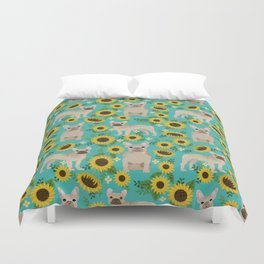 French Bulldog sunflowers sunflower floral dog breed dog pattern pet friendly pet portrait Duvet Cover