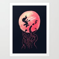 kraken Art Prints featuring Kraken by Freeminds