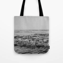 Black and White Pacific Ocean Waves Tote Bag