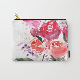 Abstract Watercolor Red Roses Carry-All Pouch
