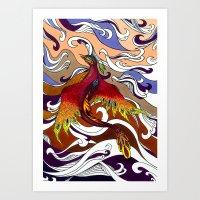 phoenix Art Prints featuring Phoenix by Peter Fulop