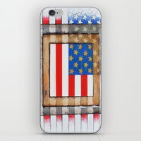 american flag iPhone & iPod Skins featuring American Flag by Steve Hester
