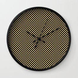 Black and Lemon Drop Polka Dots Wall Clock